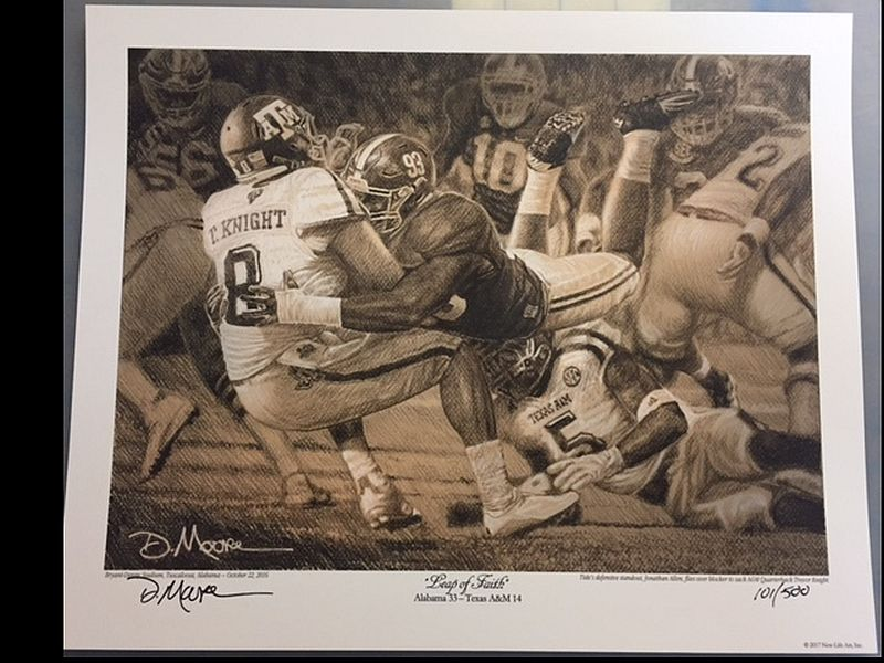Leap of faith daniel moore pencil sketch jonathon allen print categories alabama crimson tide